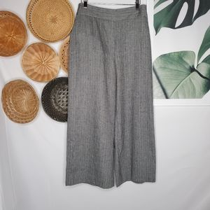 Zara Woman Houndstooth Wide Leg Trousers Gray